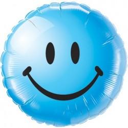 18 inch-es Smile Face Blue Héliumos Fólia Lufi