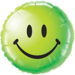 18 inch-es Smile Face Green Héliumos Fólia Lufi