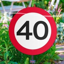 40-es sebességkorlátozós kerti tábla