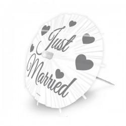 Just Married Feliratú Esküvői Napernyő Falatka Pálcika - 8 db-os