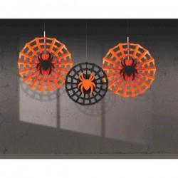 Pók Hálóban Legyező Függő Dekoráció - 3 db-os