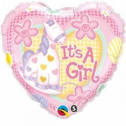 18 inch-es It is A Girl Soft Pony Baby Héliumos Fólia Lufi Babaszületésre
