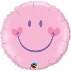 18 inch-es Sweet Smile Face - Pink Baby Héliumos Fólia Lufi