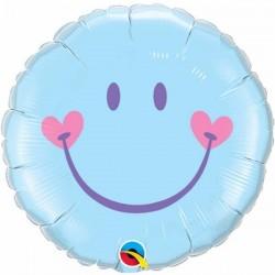 18 inch-es Sweet Smile Face - Baby Pale Blue Héliumos Fólia Lufi