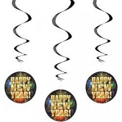 Happy New Year Spirális Függő Dekoráció - 3 db-os