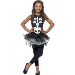 Fekete-Fehér Csontváz Tütü Kislány Jelmez - S