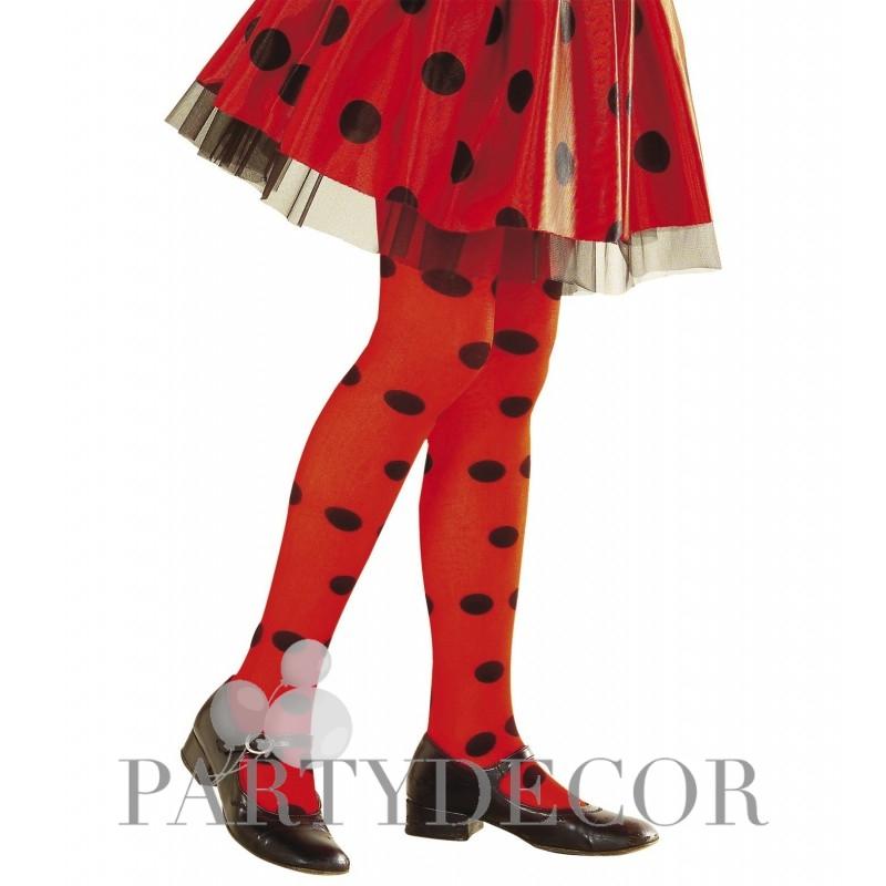 Katica harisnyanadrág - piros - fekete pöttyös 4-6 éveseknek 621ddd3766