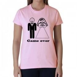 Vicces Póló - Game Over Rózsaszín - Lánybúcsúra, XL-es