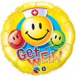 18 inch-es Get Well - Jobbulást Smile Face Héliumos Fólia Lufi