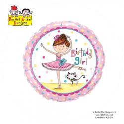 Szülinapos Lány Balerina Fólia Lufi 46 cm -  Rachel Ellen design