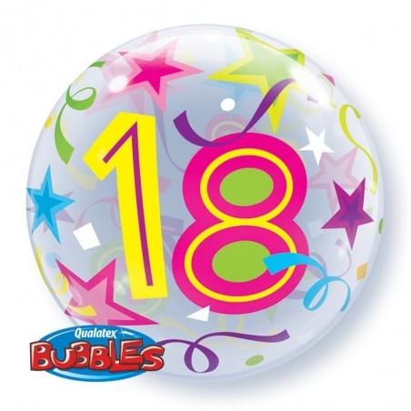 18-as  Csillagos Szülinapi Számos Bubble Lufi 56 cm