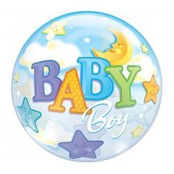 Babaszületésre Bubble Lufi Csillagokkal Holddal Kisfiúnak 56 cm