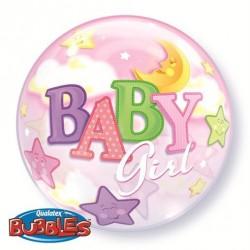 Babaszületésre Bubble Lufi Csillagokkal Holddal Kislánynak 56 cm