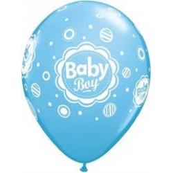 11 inch-es Baby Boy Dots - Pöttyös Lufi Babaszületésre (6 db/csomag)