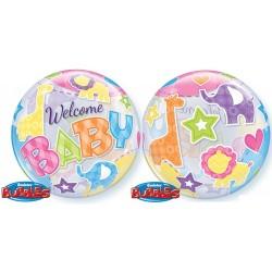 Babaszületésre Bubble Lufi - Welcome Baby felirattal - 56 cm