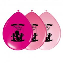 Pózolós Lánybúcsús Pink Színű Fekete Mintával Gumi Lufi 28 cm (6 db/csomag)