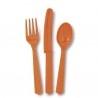 Narancssárga Műanyag Parti Evőeszköz Készlet - 18 db-os