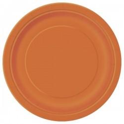 Narancssárga Papír Parti Tányér -  8 db-os