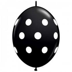 Fekete Színű Fehér Pöttyös Quick Link Lufi - 30 cm