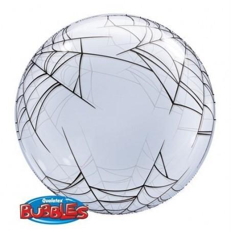 Pókháló Mintájú Bubble Lufi - 61 cm