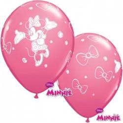 Minnie Egér Rózsaszín Gumi Lufi (6 db/csomag) - 28 cm
