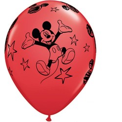 Miki egér - Mickey Mouse Piros Gumi Lufi (6 db/csomag) - 28 cm