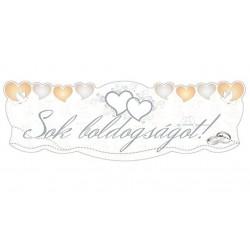 Sok Boldogságot Szívek És Galambok Ezüst Esküvői Karton Felirat - 90 cm X 30 cm