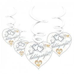 Sok Boldogságot Feliratos Galambos Esküvői Függő Dekoráció - 6 db-os