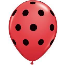 Pöttyös Lufi Piros Alapon Fekete Pettyekkel - 28 cm-es