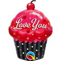 Muffin Süti Fólia Lufi I Love You Felirattal - 28 cm