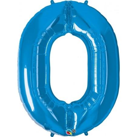 0-ás Szám Formájú Héliumos Fólia Lufi - Zafír Kék - 86 cm