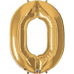 0-ás Szám Formájú Héliumos Fólia Lufi - Arany - 86 cm