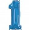 1-es Szám Formájú Héliumos Fólia Lufi - Zafír Kék - 86 cm