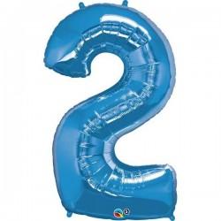 2-es Szám Formájú Héliumos Fólia Lufi - Zafír Kék - 86 cm