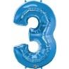 3-as Szám Formájú Héliumos Fólia Lufi - Zafír Kék - 86 cm