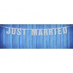 Just Married Feliratú Csillámos Betűfüzér 18x170 cm