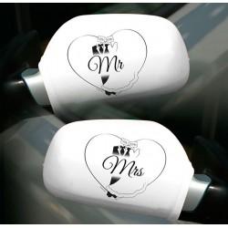 Visszapillantó-tükör Dísz Mr. és Mrs. Felirattal