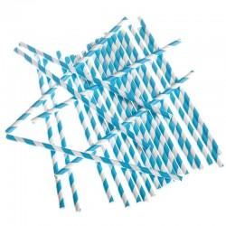 Kék-Fehér Csíkos Papír Szívószál - 24 db-os