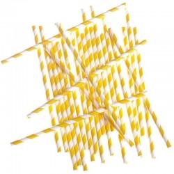 Sárga-Fehér Csíkos Papír Szívószál - 24 db-os