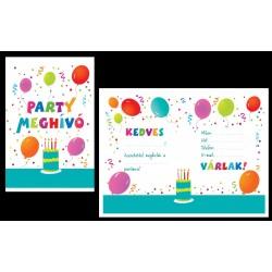 Születésnapi Parti Meghívó És Boríték - 8 db-os