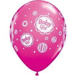 11 inch-es Baby Girl Dots - Pöttyös Lufi Babaszületésre (6 db/csomag)