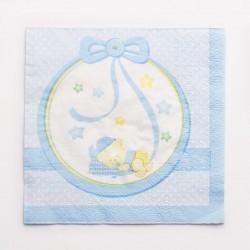 Kék Macis Csillagos-Pöttyös Szalvéta - Babaszületésre, Keresztelőre - 16 db-os, 33 cm x 33 cm