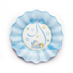 Kék Macis Csillagos-Pöttyös Tányér - 8 db-os, 21 cm