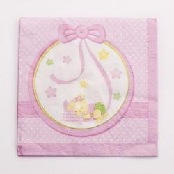Rózsaszín Macis Csillagos-Pöttyös Szalvéta - 16 db-os, 33 cm x 33 cm