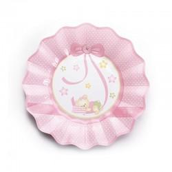 Rózsaszín Macis Csillagos-Pöttyös Tányér - 8 db-os, 21 cm
