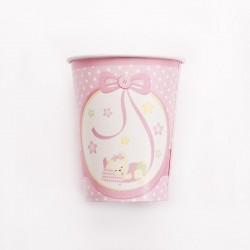 Rózsaszín Macis Csillagos-Pöttyös Pohár - 8 db-os, 250 ml