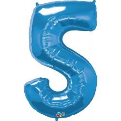 5-ös Szám Formájú Héliumos Fólia Lufi - Zafír Kék - 86 cm