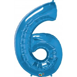 6-os Szám Formájú Héliumos Fólia Lufi - Zafír Kék - 86 cm