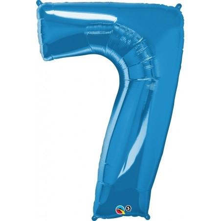 7-es Szám Formájú Héliumos Fólia Lufi - Zafír Kék - 86 cm