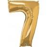 7-es Szám Formájú Héliumos Fólia Lufi - Arany - 86 cm